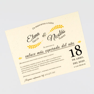 Invitación de boda actual y reciclada