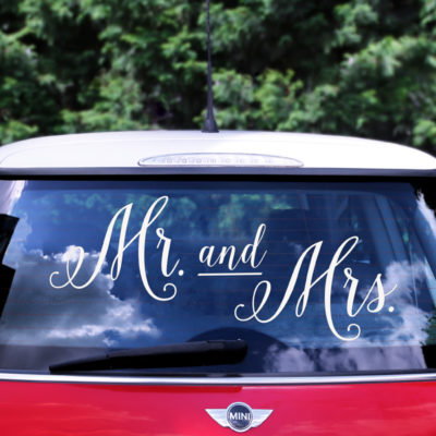 Vinilo coche mr and mrs
